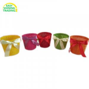 small plant pot cover with bow