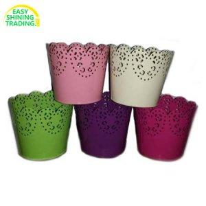 galvanized flower pots