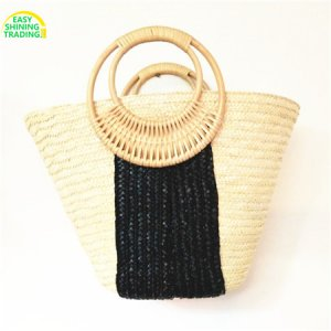 straw tote bag bamboo handle