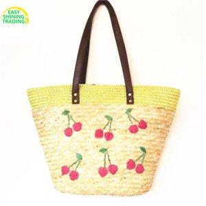 woven beach bag cherry pattern
