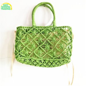 Paper straw crochet handbags