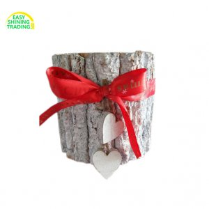 Christmas wood flower pot with bow