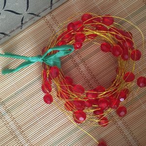 Christmas Red Bead Wire Garland