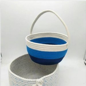 cotton rope basket with handle