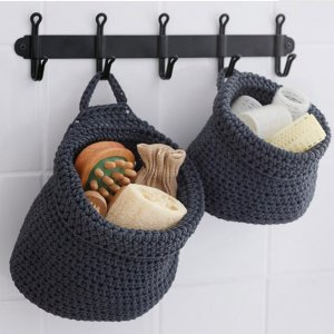 bathroom polyester rope storage basket with handle