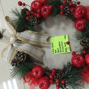 wreath with bow,apple,pinecone
