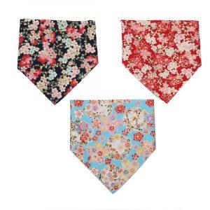 floral pattern printing pet dog bandana