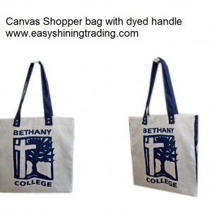 canvas shopper bag with dye handle