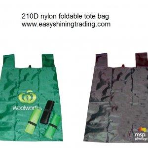 210D nylon foldable tote bag